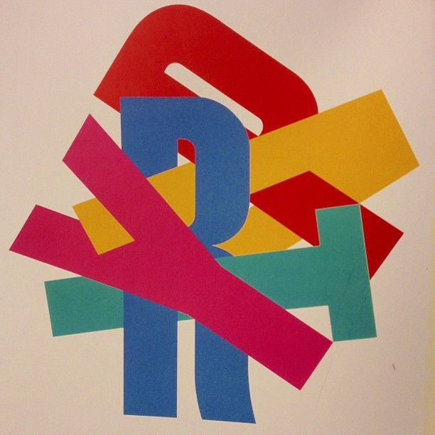 This is a piece of graphic design called Party by Alan Fletcher from 1983.The colours are fairly vivid and bright but with quite a dull background, also I think that the colours have been slightly dulled so that they are not too vibrant. I really like this piece due to the letters funky structure, creating a puzzled theme.