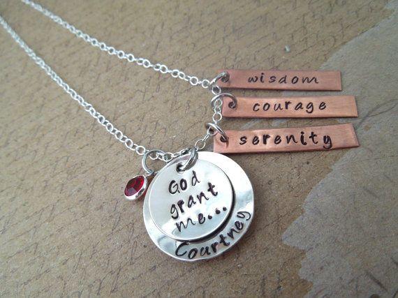 Serenity Prayer Necklace - Inspirational Pendant - Sterling Silver or Nickel - God Grant Me - Hand Stamped Custom Pendant $34