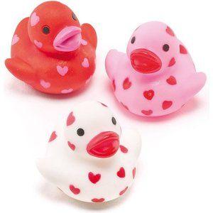 Canards en caoutchouc mini Cœurs, petits cadeaux pour pochettes surprises parfaits pour les enfants (Lot de 6)