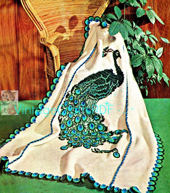 THE PEACOCK Afghan Instant Download PDF from 1960s Vintage Crochet Pattern uses basic afghan stitch then embroidered - bird fowl fiber art by VintageCraftsPDF