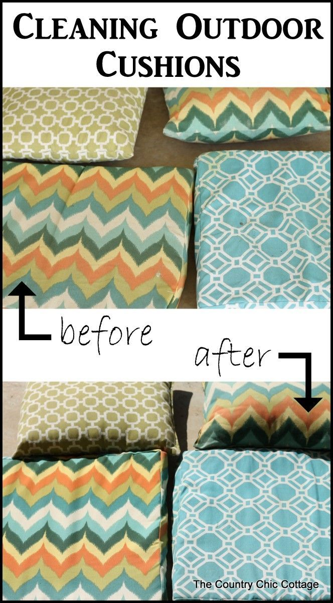 How to clean outdoor cushions -- don't forget your outdoor cushions when spring cleaning.  Follow this how to guide.