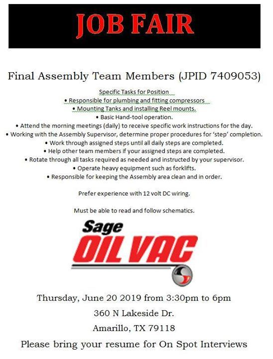Job Fair Thursday June 20th 2019 From 3 30 6 00 Sage Oil Vac Is