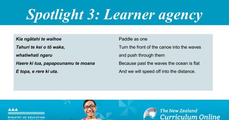 Spotlight 3: Learner agency Kia ngātahi te waihoe Paddle as one Tahuri te kei o tō waka, Turn the front of the canoe into the waves whatiwhati ngaru and push through them Haere ki tua, papapounamu te moana Because past the waves the ocean is flat E topa, e rere ki uta. And we will speed off into ...