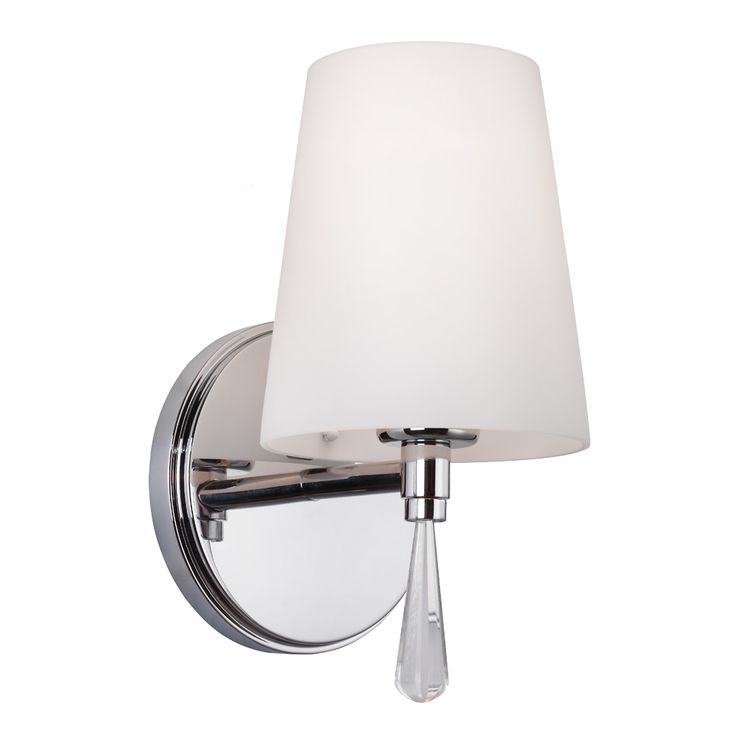 "Murray Feiss Monica VS53001-CH-1 one-light sconce in Polished Chrome; measures 5-3/8"" wide x 9-5/8"" high x 5-7/8"" extension off wall. Takes one 100-watt medium-base bulb."