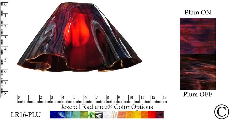 """Jezebel Radiance® Large Lily Plum Glass Pendant/Ceiling Fan Light Replacement Glass Shade, 1 5/8"""" hole"""