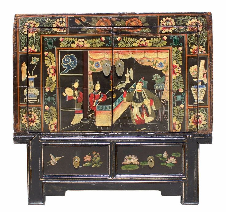 Chinese Vintage Black Oriental People Scenery Side Table Cabinet cs3174S