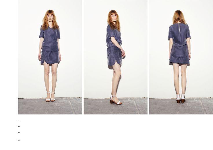 Indigo blue tailored fit silk neoprene t-shirt and asymettrical cut mini skirt