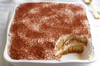 Gino D'Acampo's ricotta tiramisu Gino has substituted the whipped double cream and mascarpone cheese used in traditional tiramisu recipes with lower-fat ricotta cheese and Greek yogurt