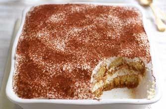 Gino D'Acampo's ricotta tiramisu Gino has substituted the whipped double cream and mascarpone cheese used in traditional tiramisu recipes with lower-fat ricotta cheese and Greek yogurt
