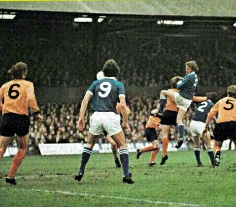 Ipswich Town 2 Wolves 0 in Feb 1975 at Portman Road. Allan Hunter with a header #Div1