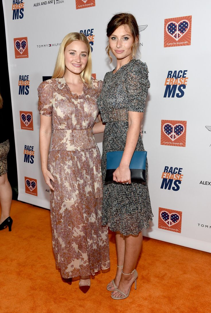 Aly and AJ Michalka in floral dresses at the 22nd Annual Race to Erase MS event