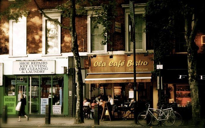 Обои на рабочий стол Город:Лондон, Англия, Улица, Кафе - скачать бесплатно.   Обои-на-стол.com