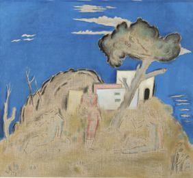 Παρθένης Κωνσταντίνος (1878/1879 - 1967) Τοπίο με τρεις φιγούρες, π. 1935 Λάδι και μολύβι σε καμβά , 96 x 106 εκ. Αρ. έργου: Π.6832