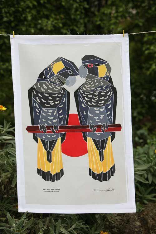 Australian Certified Organic Australian Birds tea towel - Black Cockatoo #certifiedorganic #teatowel #birdsofaustralia #organiccotton #kitchentextiles #blackcockatoo #easternrosella #ganggangcockatoo #kingparrot #galah #regentparrot #parrot #rosella