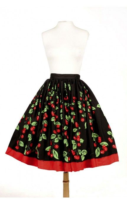 Jenny Gathered Full Skirt in Cherry Border Print - Back in Stock - Clothing | Pinup Girl Clothing