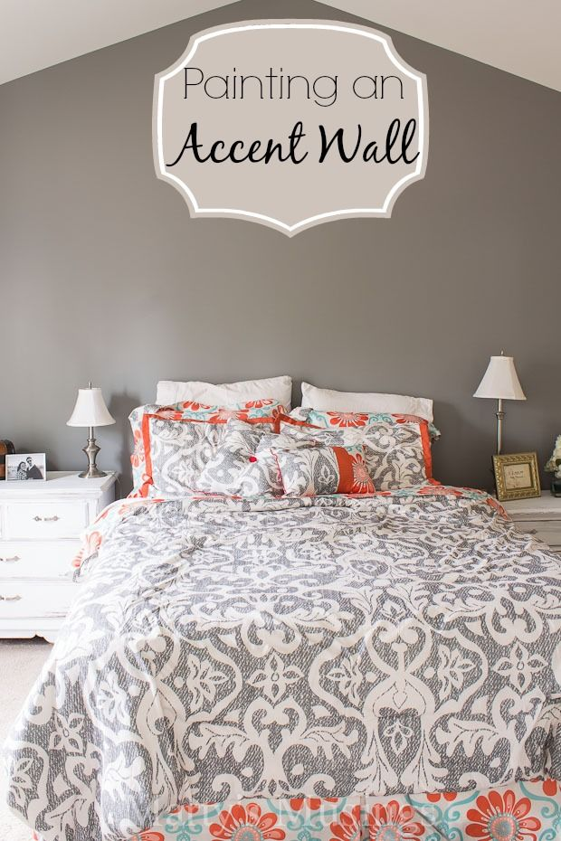 Painting an Accent Wall - Marty's Muisngs #BEHRDIYExpert LOVE the bedding