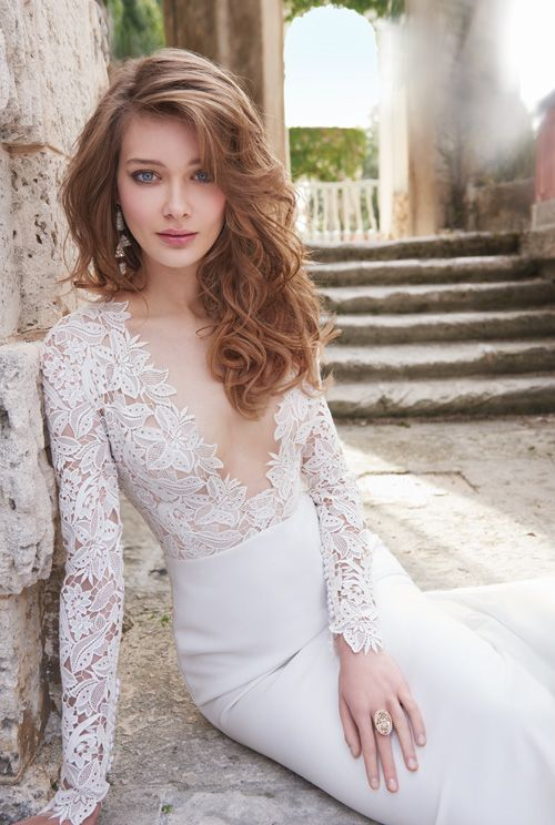 Bridal Gowns, Wedding Dresses by Tara Keely - Style tk2450 Ivory Venise lace and crepe sheath bridal gown. Long sleeve bodice with cashmere lining and deep V plunge neckline. Slim skirt with chapel train