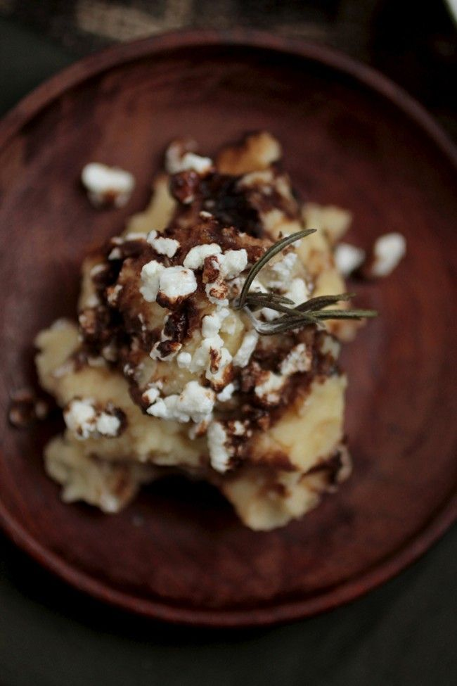 ... browned butter mashed potatoes with goat cheese and balsamic glaze