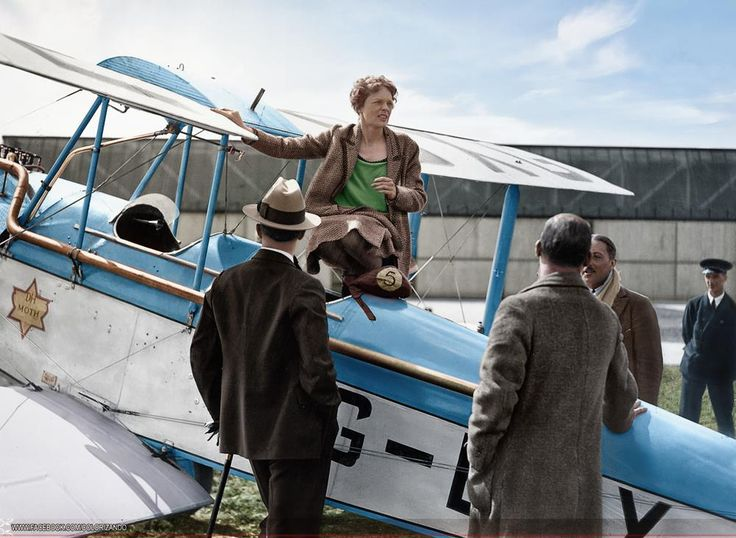 Amelia Earhart (born July 24, 1897 – disappeared July 2, 1937) the first female aviator to fly solo across the Atlantic Ocean.
