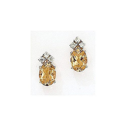 14kt Gold Diamond and Oval Citrine Earrings 1.75ct TW