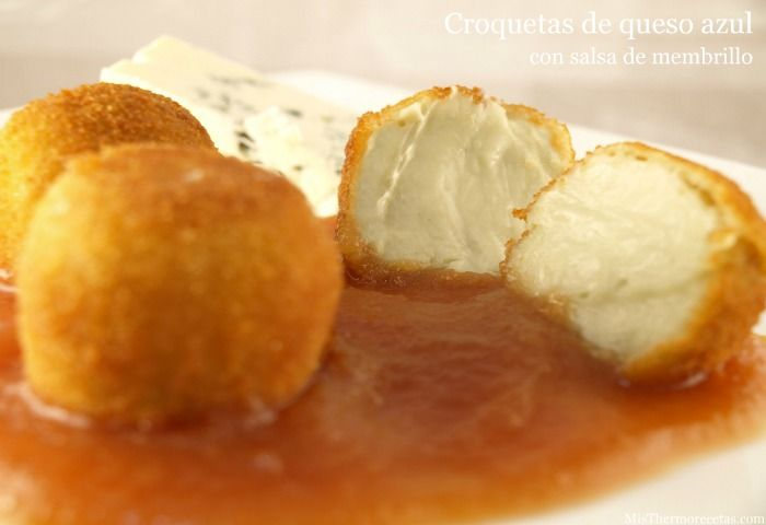 Croquetas de queso azul con salsa de membrillo - MisThermorecetas.com