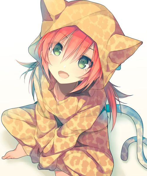 Red haired anime gitl in Cat pajamas.