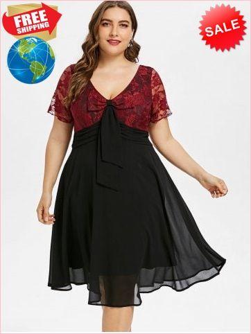 59b476064d Best Prices Plus Size Lace Trim Two Tone Flare Dress 2261394  bToWXQvsG6SVzKI0l3E9 Cheap Sale  RoseGal