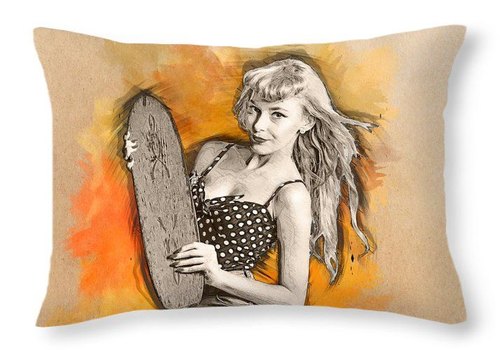 Skateboard Linen Pillow Case featuring the drawing Skateboard Pin-up Illustration by Ryan Jorgensen