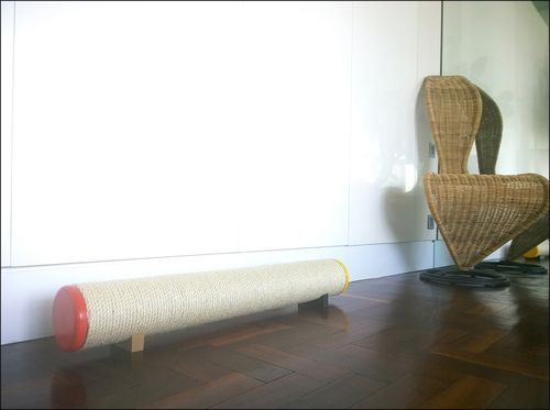 Sisal Rope Pipe Scratcher with Orange & Yellow gloss end caps