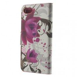 Apple iPhone 7 violetit kukat puhelinlompakko.
