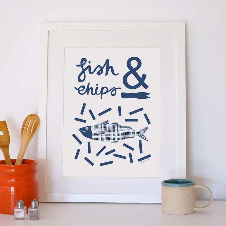Fish and Chips A3 Giclee Print by Stephanie Cole Design