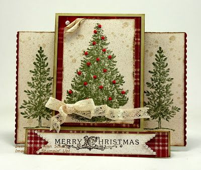 Stair step card (also known as Center Step Card). Christmas Lodge and Lovely as a Tree.