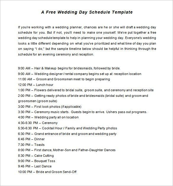Best 25+ Wedding timeline template ideas on Pinterest Wedding - wedding schedule template