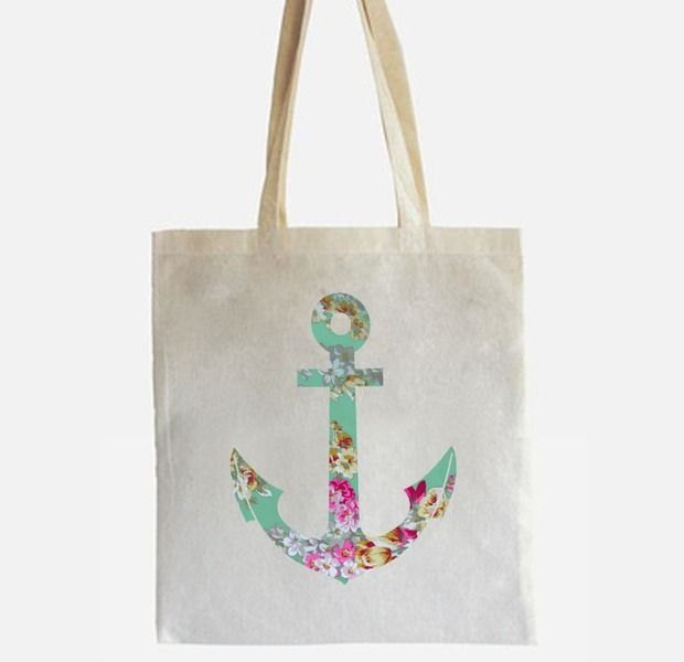 Jutebeutel mit Anker mit floralem Muster // Anchor tote bag with floral pattern by -CIRCULAR- via DaWanda.com