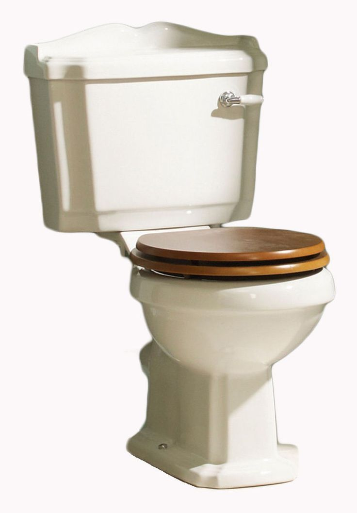 Traditional Toilet Victorian Edwardian Style WC Close Coupled Wood Effect Seat