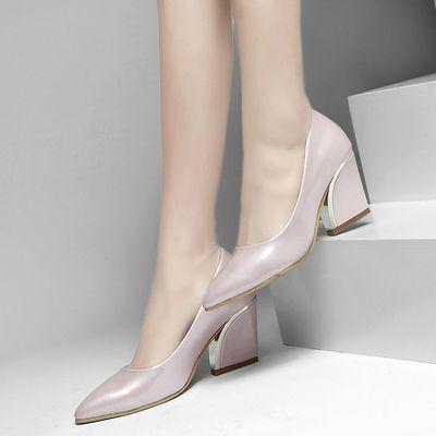 Женщины рабочий квадрат высокие каблуки женщины удобные туфли на высоком каблуке весна лето женщины обувь 6 см купить на AliExpress