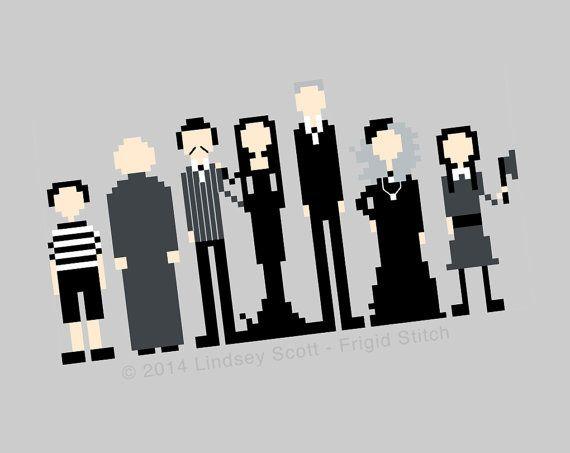 Addams Family Cross Stitch PATTERN PDF Instant by FrigidStitch