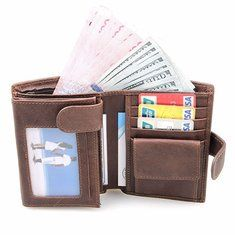 RFID Antimagnetic Vintage Genuine Leather 11 Card Slots Coin - Banggood Mobile