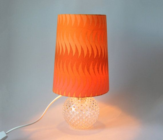 Vintage orange desk lamp panton style in bright by LeKosmosBerlin