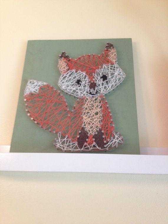 Fox String Art Nursery Decor by TheCoralCanopy