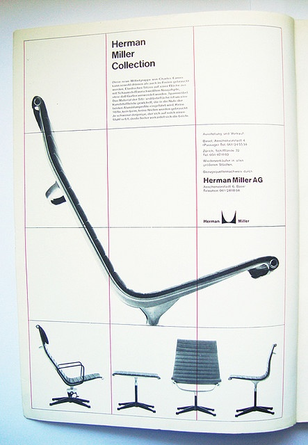 otl aicher. herman miller    Ad designed by otl aicher and tomas gonda.  aluminium chair designed by charles and ray eames for Herman Mille
