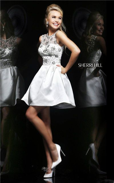 Cheap Sherri Hill 21323 Ivory/Silver Beaded Backless Short Prom Dress 2014 [Sherri Hill 21323 Ivory/Silver] - $184.00 : Homecoming dresses 2015 makes you look and feel beautiful,cheap but excellent.