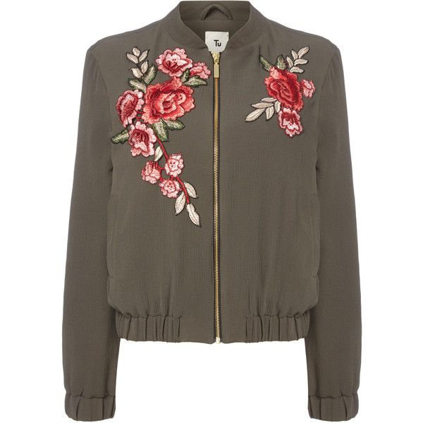 Khaki Floral Embroidered Bomber Jacket (205 GTQ) ❤ liked on Polyvore featuring outerwear, jackets, flight jacket, bomber style jacket, bomber jacket, blouson jacket and brown bomber jacket