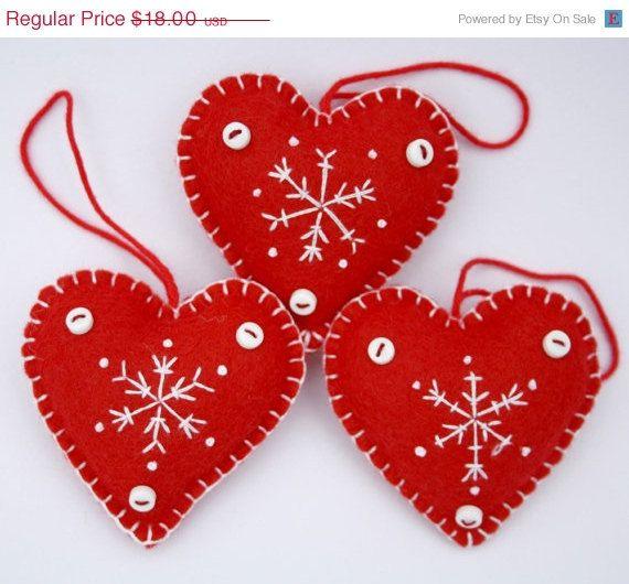 senta el corazn que adornos de navidad corazones de copo de nieve rojo y blanco hecho a mano adornos de navidad de anticuados invierno escandinavo