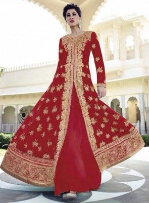 #Red Floor Length #Anarkali #Suit Features on Geogette fabric top, santoon fabric bottom and inner and chiffon dupatta.