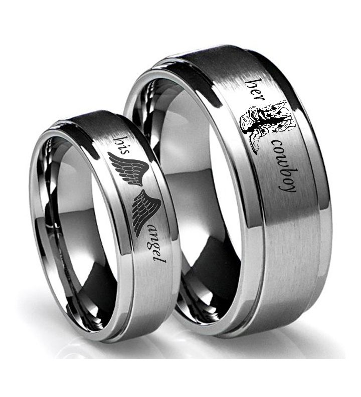 Southern Sisters Designs - Her Cowboy and His Angel Set Of Rings Tungsten, $39.95 (http://www.southernsistersdesigns.com/her-cowboy-and-his-angel-set-of-rings-tungsten/)
