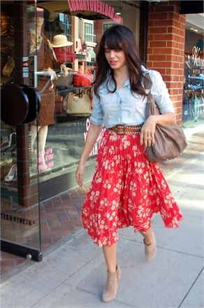jean button up shirt with belt and high waisted print skirt