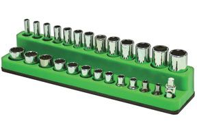 "1/4"" Dr Shallow/Deep 26-Hole Magnetic Socket Organizer, Neon Green"