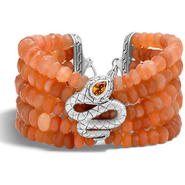 John Hardy Legends Cobra Batu Peach Moonstone Bracelet ($2,220) ❤ liked on Polyvore featuring jewelry, bracelets, silver, beading jewelry, eagle jewelry, beaded jewelry, moonstone bangle and snake bangle