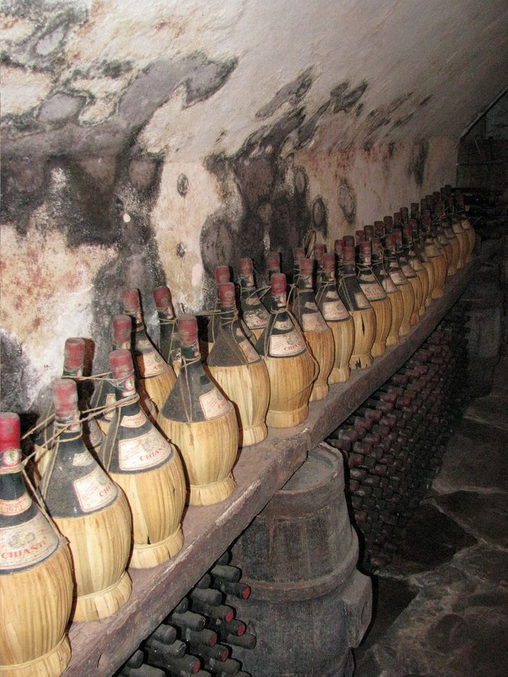 Mugello Bottles of wine aging in Castello del Trebbio    #TuscanyAgriturismoGiratola